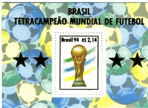 Brazil 1994 FOOTBALL FIFA WORLD CUP Gold Ovpt s/s Perforated Mint (NH)