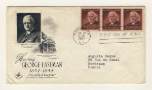 US - 1954 - Scott 1062 FDC - George EASTMAN - strip of 3