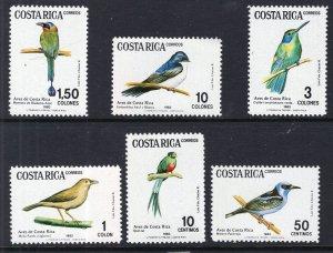 Costa Rica 287-292 Birds MNH VF