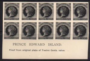 Prince Edward Island #16 XF Proof Plate Block Of 10
