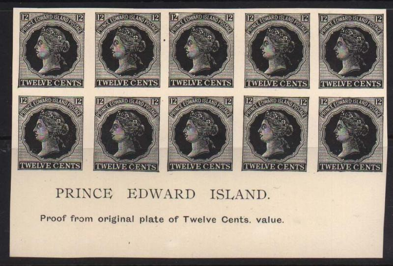 Prince Edward Island #16 XF Proof Plate Block Of 10