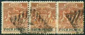 RHODESIA-1892-94 4d Chestnut & Black Strip of 3 Sg 22 GOOD USED V48394