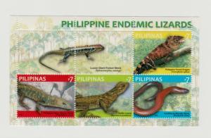 Philippines 2011 lizards reptiles s/s MNH