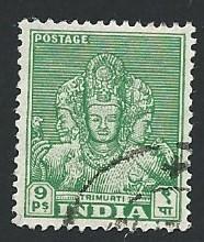 India Scott #209 9Ps Trimurti used (1941)