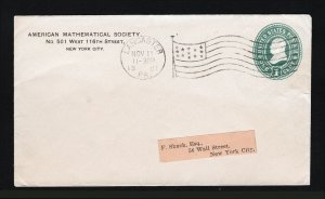 1901 COVER SCOTT #U352 LANCASTER PA AMERICAN MATHEMATICAL SOCIETY FLAG CANCEL