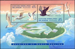 Cocos Islands #300-301a, Complete Set(3), 1995, Birds, Never Hinged