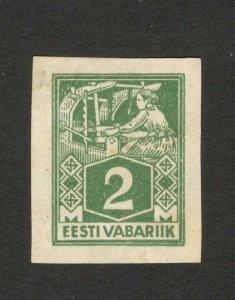 ESTONIA - EESTI  VABARIIK - MH DEFINITIVE IMPERFORATED STAMP, 2 M -1922/1923.