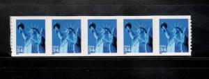 3477 Statue Of Liberty Strip Of 5 Mint/nh FREE SHIPPING