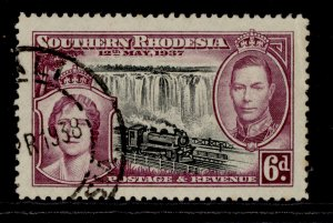SOUTHERN RHODESIA GVI SG39, 6d black and purple, FINE USED.