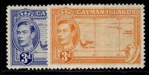 CAYMAN ISLANDS GVI SG121+ 121a, 3d COLOUR VARIETIES, M MINT.