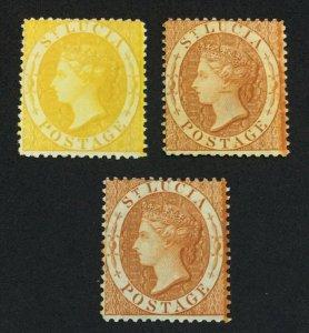 MOMEN: ST LUCIA SG #16x,18a,18x P14 1964-76 CROWN CC MINT OG H £500 LOT #60942