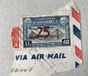 El Salvador 1943 25c surcharge on 40c Golden Gate.  Scott C88, CV $0.75