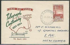 AUSTRALIA 1954 Telegraph commem FDC........................,............38303