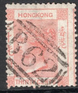 HONG KONG-1863-71 30c Vermilion Sg 15 GOOD USED V49790
