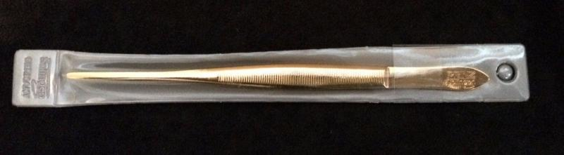 Prinz Gold Plated New Large Pointed Tweezers In Holder (R1)