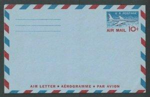 UC32a 10c Mint Air Letter Aerogram Entire W/3 line Inscription On Back