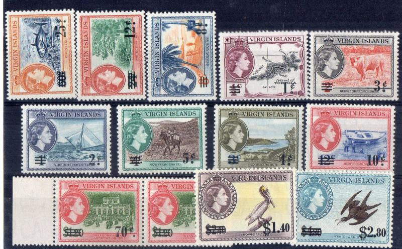 BRITISH VIRGIN ISLAND 1962- SG NO 162/73 + CV 25 GBP LMM