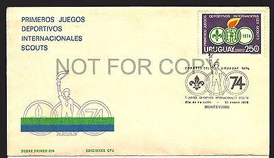1974 URUGUAY FDC BOY SCOUT PHILATELIC SCOUTISM SPECIAL CA...