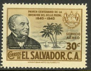 EL SALVADOR 1940 30c ROLAND HILL Stamp Anniv Airmail Issue Sc C69 MNH