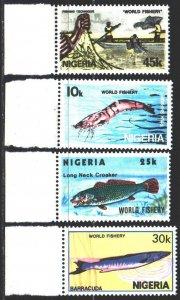 Nigeria. 1983. 421-24. Fishing, fish. MNH.