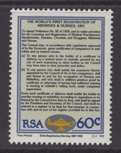 SOUTH AFRICA SG733 1991 STATE REGISTRATION FOR NURSES & MIDWIVES MNH