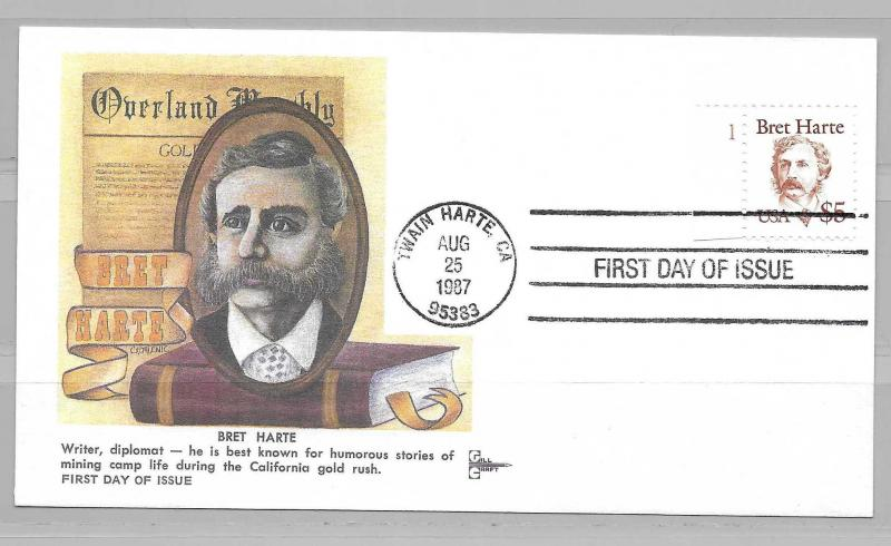 United States 2196 Bret Harte Gill Craft Plate single FDC