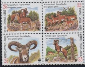 Cyprus Sc 923a 1998 Mountain Goat WWF stamp block of 4 mint NH