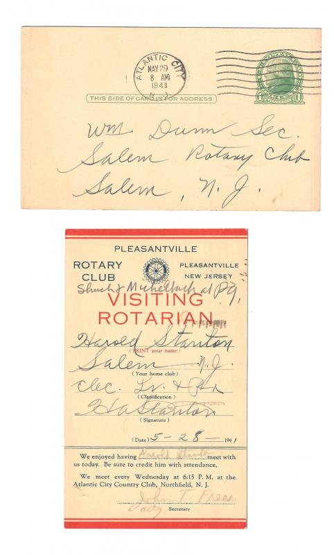 UX27 Preprinted Postal Card 1941 Pleasantville NJ Rotary Club Visiting Rotarian