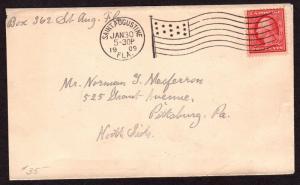$Florida Machine Cancel Cover, Saint Augustine, 1/30/1909, earliest recorded imp