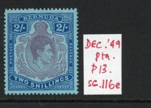 BERMUDA GEORGE VI SG116e Dec 49 Ptg. lightly hinged.