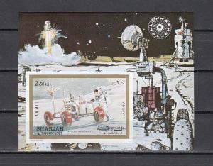 Sharjah, Mi cat. 981, BL111 B. Apollo 17, Moon Buggy, IMPERF s/sheet. *