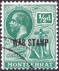 MONTSERRAT 1918 KGV 1/2d Green SG61, FINE USED.