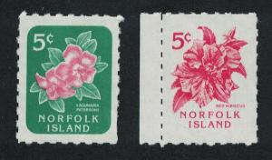 Norfolk Hibiscus Lagunaria Flower designs as 1960 issues 2v SG#600-601