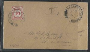 KENYA,UGANDA,TANGANYIKA (P0511B) 1933 UNSTAMPED COVER POSTAGE DUE 10C LOCAL DAR