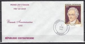 Central Africa, Scott cat. 518 only. J. Goethe issue. First Day Cover.