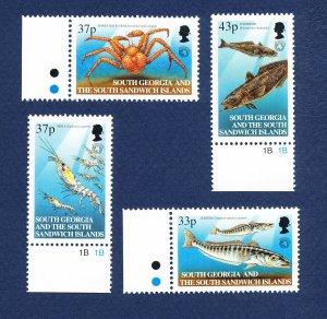 SOUTH GEORGIA - # 270-273  - MNH -  Marine Life, Fish - 2001