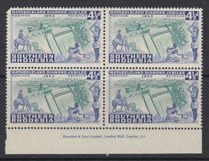 Southern Rhodesia, Scott 77 (SG 74), MNH imprint block