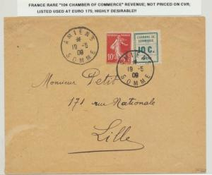 FRANCE 1909 RARE 10c CHAMBER OF COMMERCE REVENUE ON COVER, RARE...(SEE BELOW)