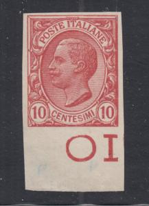 Italy Sc 95a, MNG/NGAI 1906 10c claret King, imperf single with sheet margin, XF