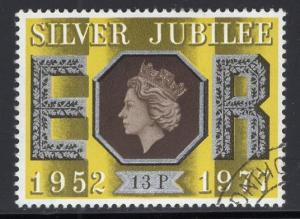 Great Britain  #814 cancelled  1977  Silver Jubilee  13p