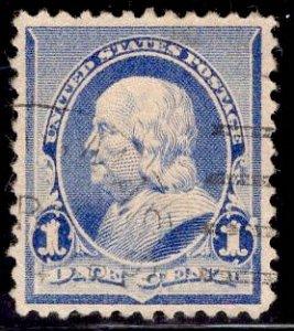 US Stamp #219 1c Blue Franklin USED SCV $.75