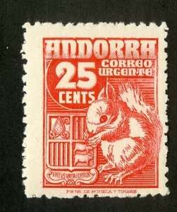 SPANISH ANDORRA E5 MH SCV $5.75 BIN $2.75 SQUIRREL
