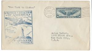 United States, F18-1B (FAM 18), First Flight Cover, New York-Lisbon, Used #4