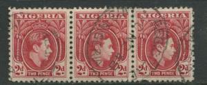 Nigeria -Scott 66 - KGVI Definitive -1938 - Used - Horiz. Strip of 3 X 2p Stamps