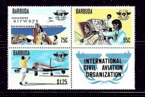 Barbuda 393a MNH 1979 Civil Aviation block of 4