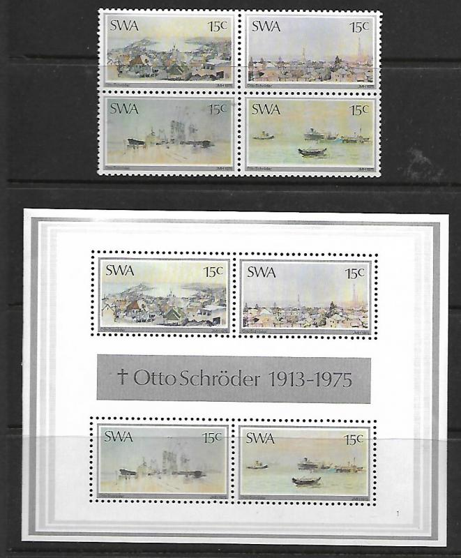 SOUTH WEST AFRICA 380-383,383a MNH PAINTINGS BY OTTO SCHRODER SET AND SOUVENI...