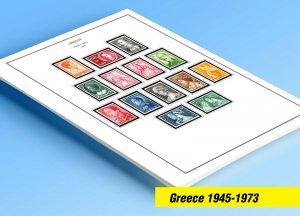 COLOR PRINTED GREECE [KINGDOM] 1945-1973 STAMP ALBUM PAGES (66 illustr. pages)