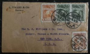 1928 Tientsin China Commercial Cover To New York USA Bearing Pair Scott 276-277