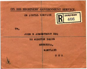 Zanibar Postal Cover - On His Highness' Government Service - registered mail