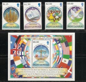 Montserrat 873-7 1995 50th UN set and s.s. MNH